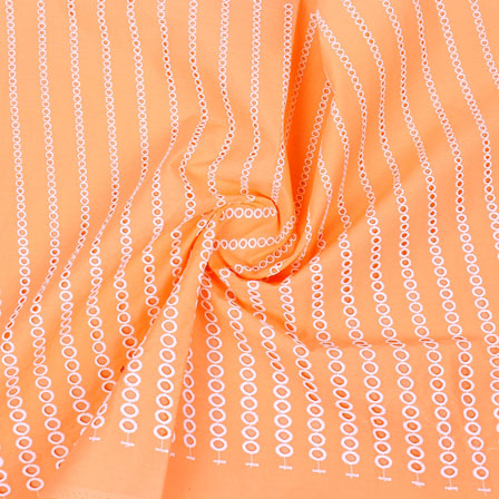 Peach White Polka Lucknowi Chikan Fabric-95007