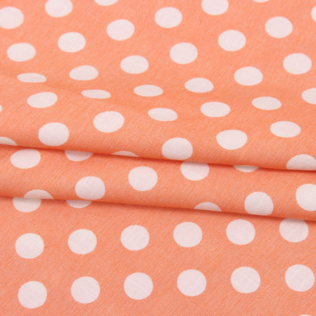 Peach White Polka Print Rayon Fabric-15276