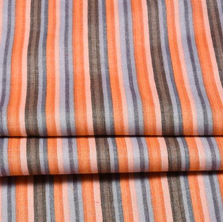 Peach White Stripe Cotton Flex Fabric-28188