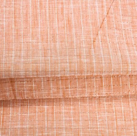 Peach White Stripe Handloom Cotton Fabric-40988