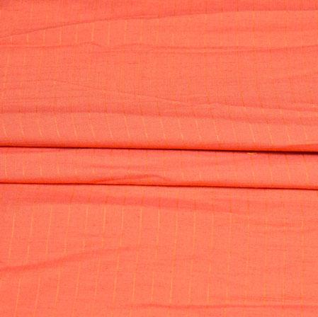 Peach White Stripe Handloom Cotton Fabric-42465