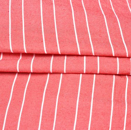 Peach White Stripe Handloom Cotton Fabric-42529
