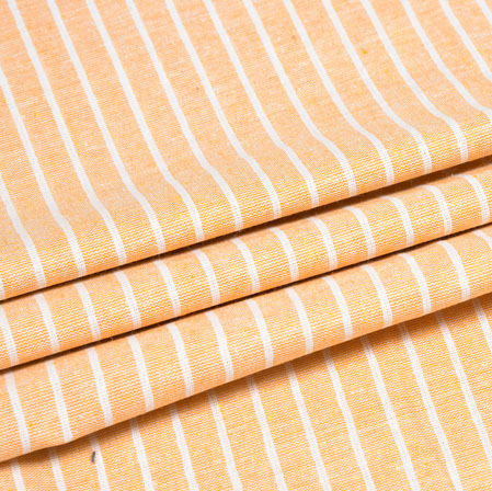 Peach White Striped Handloom Cotton Fabric-40833