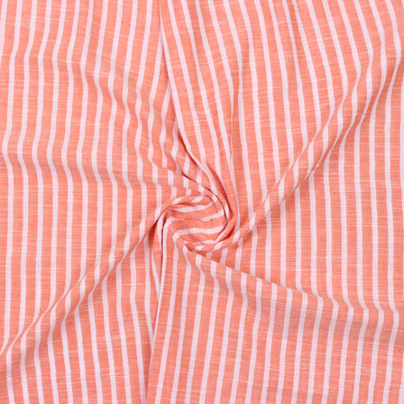 Peach White Striped Handloom Cotton Fabric-40749
