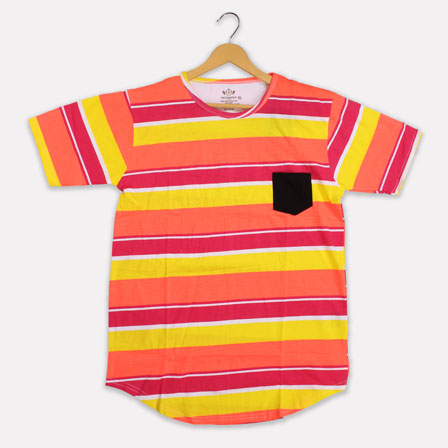 Peach Yellow Cotton Stripes T-shirt-33376