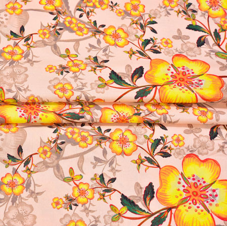 Peach Yellow Floral Crepe Silk Fabric-41022