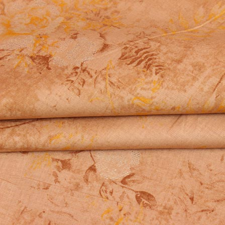 Peach Yellow Floral Print Jam Cotton Silk Fabric-15300