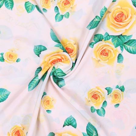Peach Yellow Flower Crepe Silk Fabric-18265