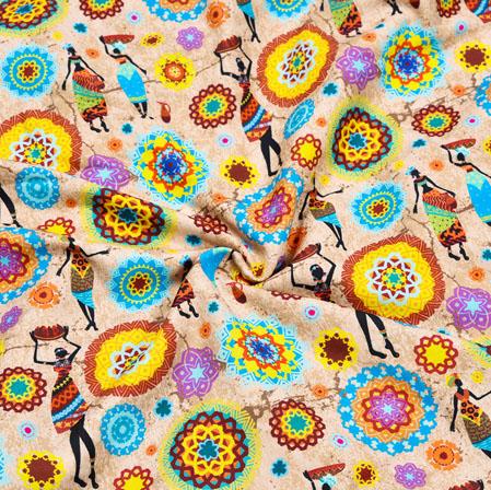 Peach Yellow Warli Crepe Silk Fabric-41051