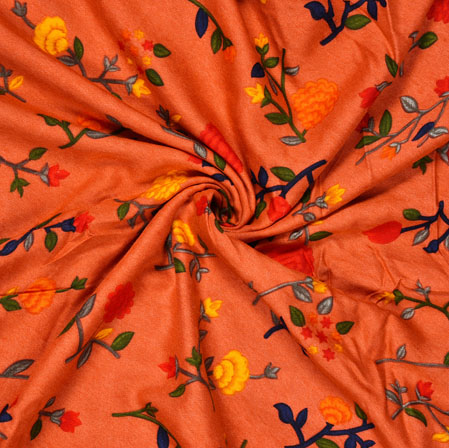 Peach Yellow and Gray Floral Cotton Fabric-28574