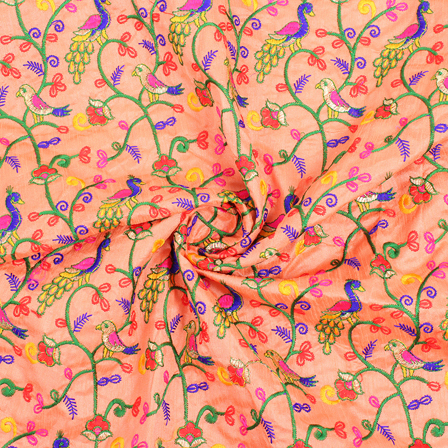 Peach-Yellow and Green Bird Embroidery Silk Fabric -60843