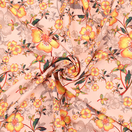 Peach Yellow and Green Flower Rayon Fabric-15074