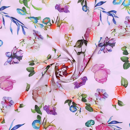 Peach Yellow and Purple Flower Crepe Silk Fabric-18250