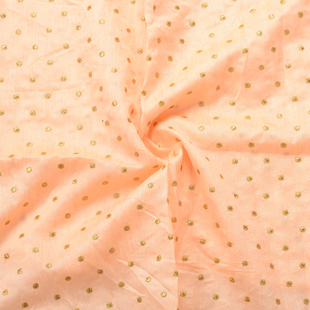 Peach and Golden Polka Dot Design Silk Embroidery Fabric-60167