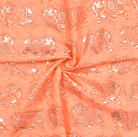 Peach and Silver Elephant Design Chanderi Silk Fabric-9004
