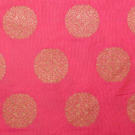 Peach and Golden Floral Circular Pattern Brocade Silk Fabric by the yard