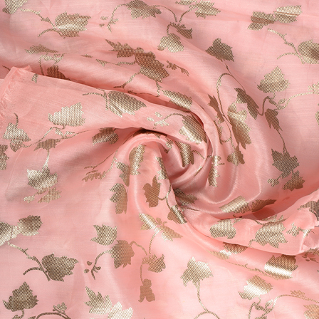 Peach and Golden Floral Organza Foil Print Fabric-51311