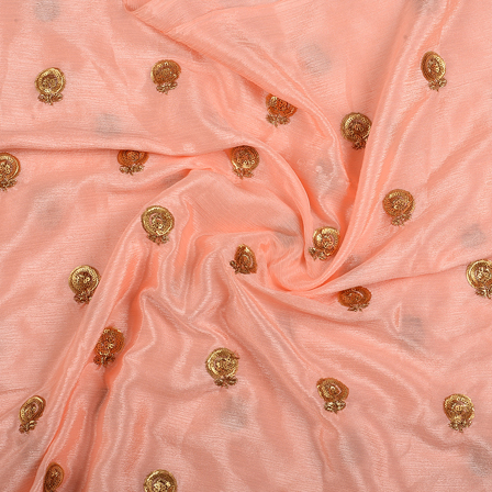 Peach and Golden Flower Malbari Embroidery Silk-60714