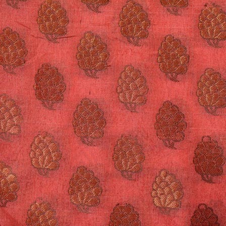 Peach and Golden Flower Pattern Indian Chanderi Fabric-4387