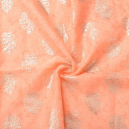 Peach and Golden Leaf Pattern Kota Doria Fabric-25063