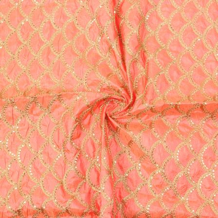 Peach and Golden Semi Circular Design Silk Embroidery Fabric-60141