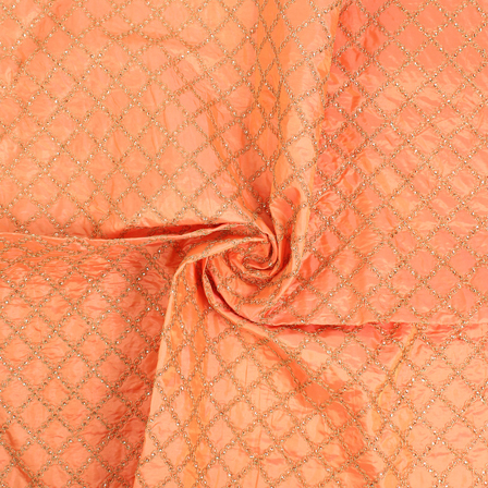 Peach and Golden Silk Embroidery Fabric-RAH60472