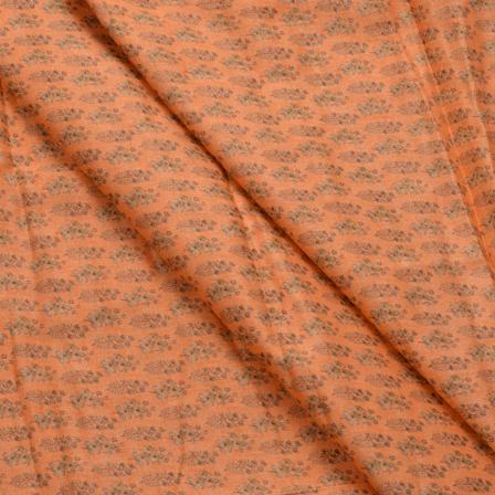 Peach and Green Floral Design Jam Cotton Silk Fabric-75012