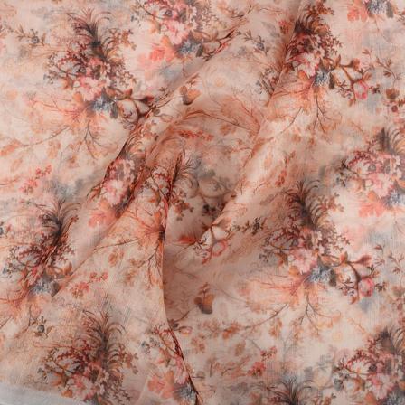 Peach and Green Floral Organza Digital print Fabric-51359