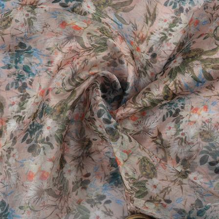 Peach and Green Floral Organza Digital print Fabric-51364
