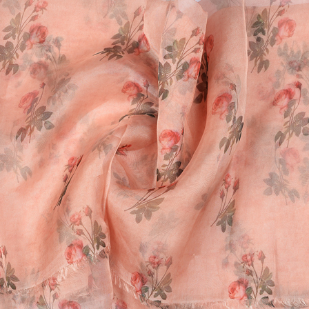 Peach and Green Flower Design Silk Organza Fabric-51024