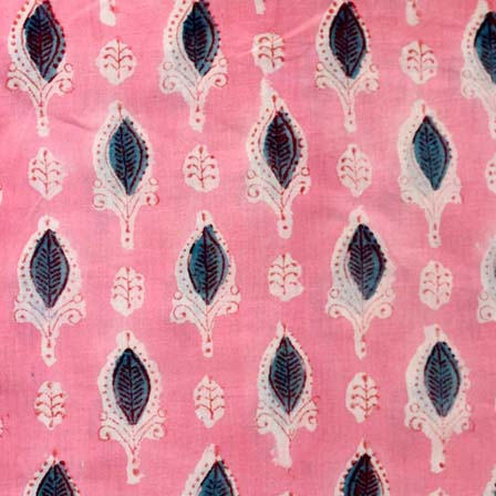 Peach and Maroon Leafs Pattern Indian Block Print Fabric By the Yard