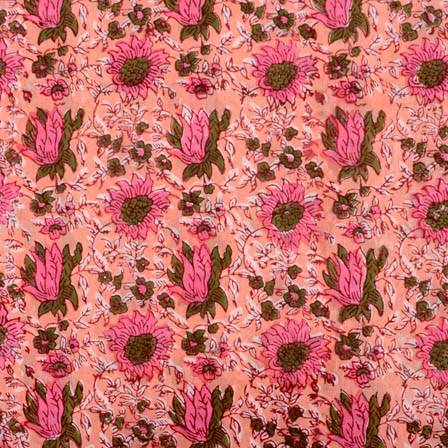 Peach-pink and green large flower block print fabric-5205