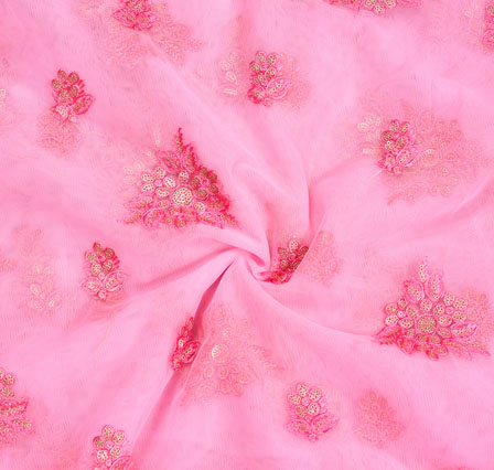 Pink Embroidery Silk Net Fabric-18679