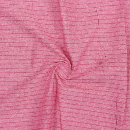 Pink Striped Handloom Khadi Cotton Fabric-40716