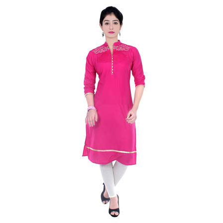 Pink 3/4 Sleeve Embroidered Cotton Kurti-3032