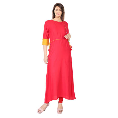 Pink 3/4 Sleeve Tassel Style With Designer Button Rayon Kurti-3117