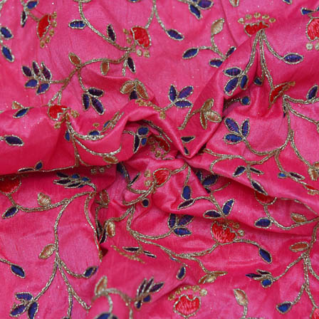 Pink Banarasi Dupion Base Fabric With Blue and Golden Leaf Embroidery-60019