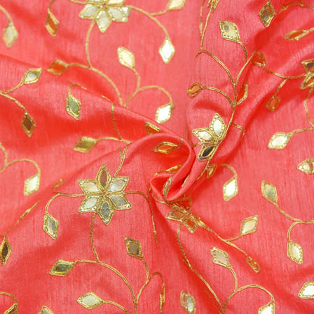 Pink Banglori Silk Base Fabric With Golden Floral Embroidery-60012
