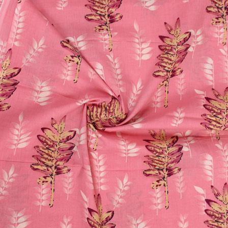 Pink Beige Block Print Cotton Fabric-14814