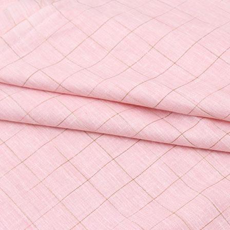 Pink Beige Check Handloom Cotton Fabric-40762