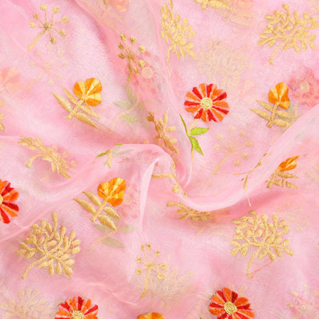 Pink Beige Floral Embroidery Organza Silk Fabric-22007
