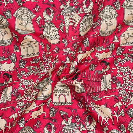 Pink Beige Warli Print Manipuri-Silk Fabric-18020