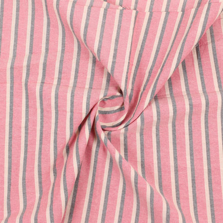 Pink Beige and Black Stripe Handloom Khadi Cotton Fabric-40475