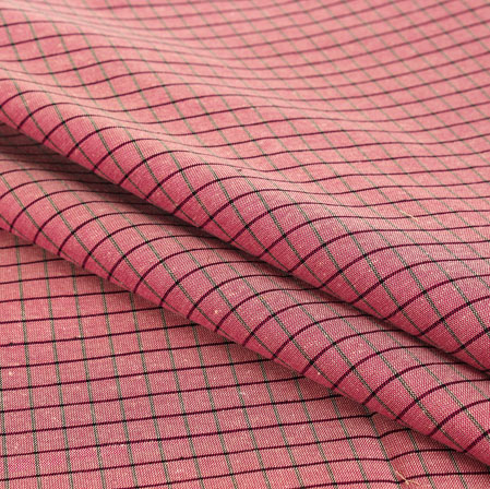 Pink Black Check Handloom Cotton Fabric-40892