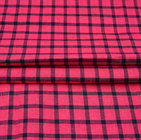 Pink Black Checks Cotton Handloom Fabric-42230