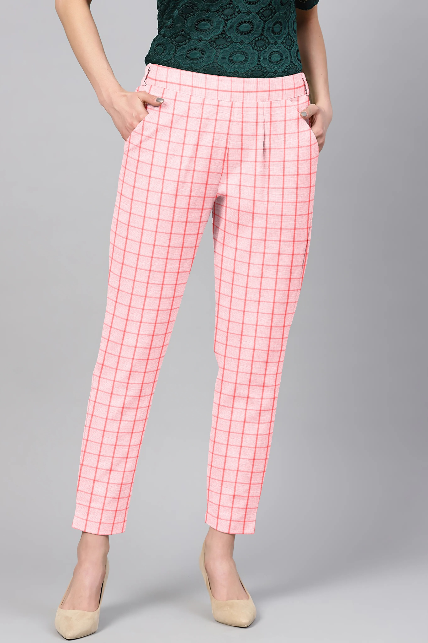 Pink Black Cotton Check Regular Fit Solid Trouser-36094