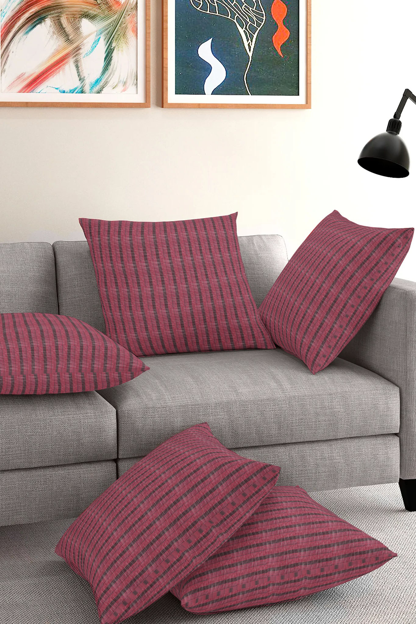 Set of 5-Pink Black Cotton Cushion Cover-35380-16x16 Inches