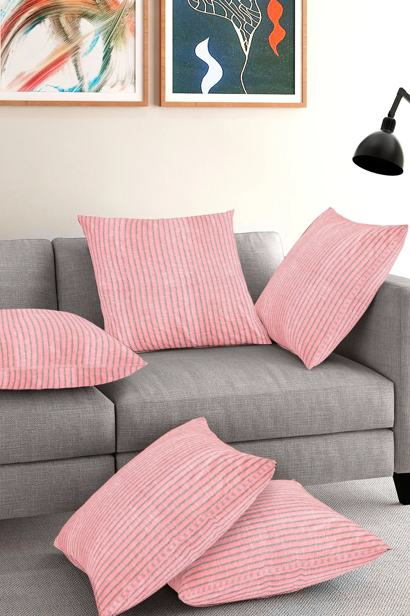 Set of 5-Pink Black Cotton Cushion Cover-35391-16x16 Inches