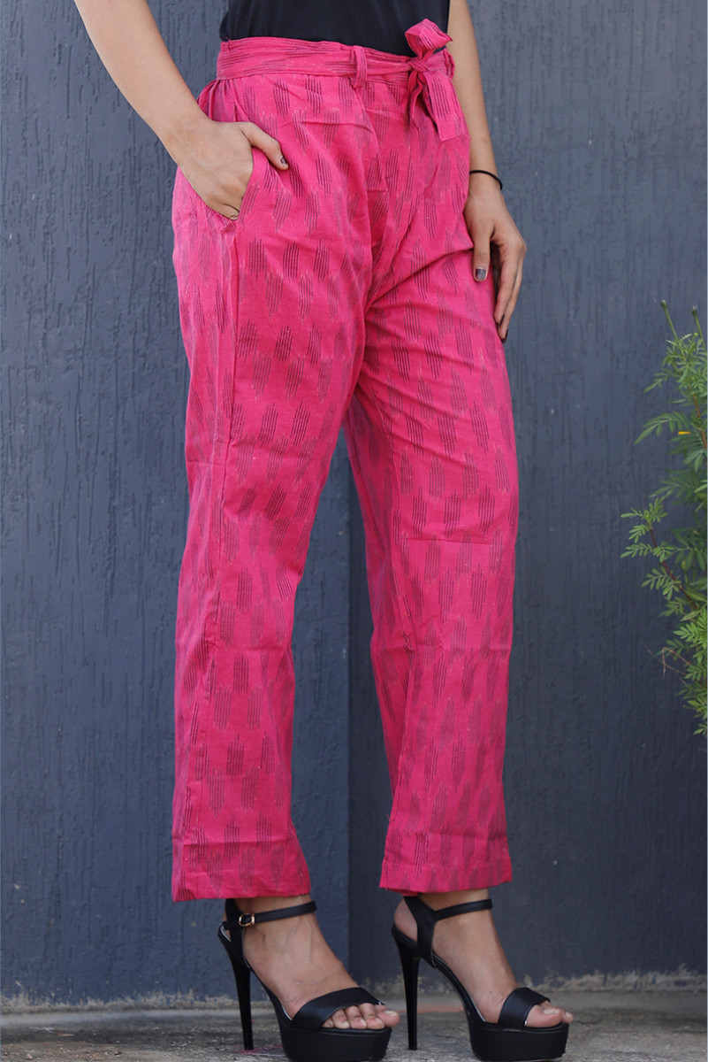 Pink Black Cotton Ikat zig zag Narrow Pant-34039