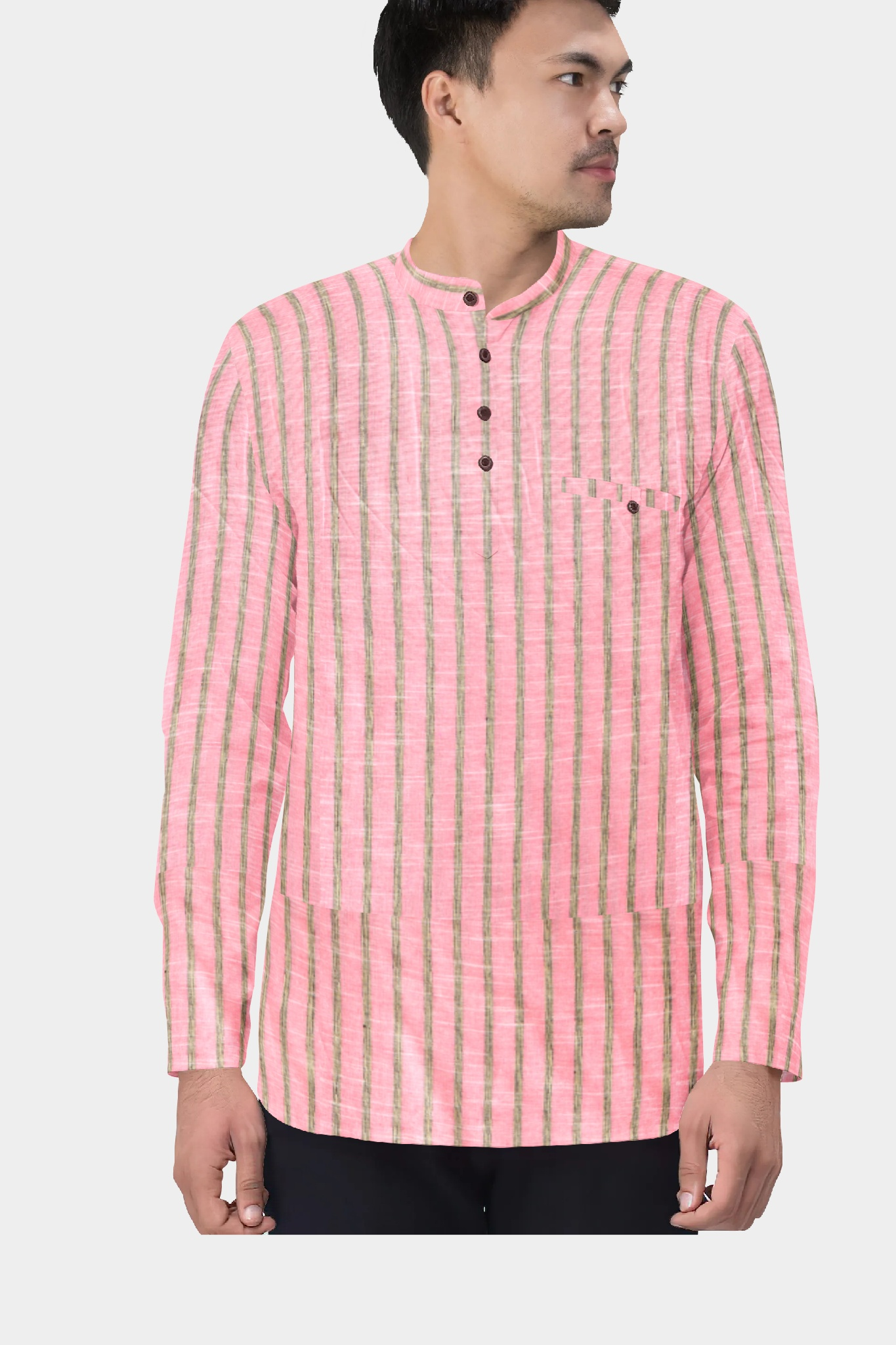 Pink Black Cotton Striped Short Kurta-35435